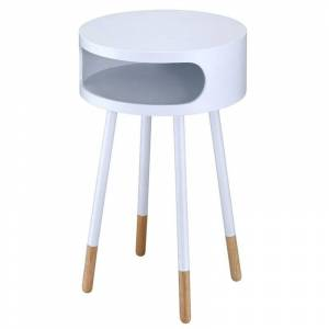 ACME Furniture ACME Sonria Round End Table in White and Natural