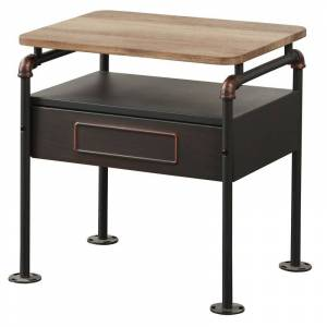 ACME Furniture ACME Nicipolis Nightstand in Sandy Gray and Antique Oak