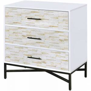 ACME Furniture ACME Uma 3 Drawer Contemporary Nightstand in White and Black