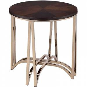 ACME Furniture ACME Novus 24 Round End Table in Walnut and Champagne