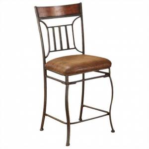 ACME Furniture Tavio 24 Counter Stool in Light Brown and Black Gold Brush (Set of 2)