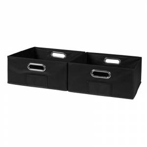 Niche Cubo Set of 2 Half-Size Foldable Fabric Storage Bins- Black