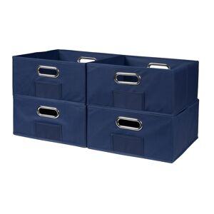 Niche Cubo Set of 4 Half-Size Foldable Fabric Storage Bins- Blue
