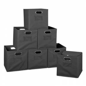 Niche Cubo Set of 12 Collapsible Fabric Storage Bins in Grey