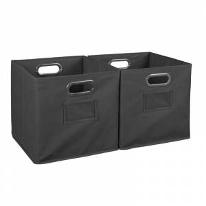 Niche Cubo Storage Set of 2 Collapsible Fabric Storage Bins in Grey