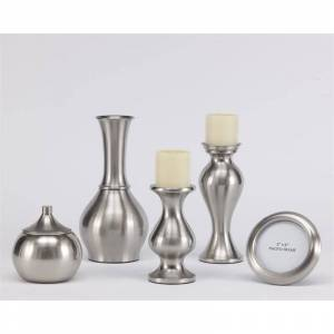 Ashley Furniture Rishona 5 Piece Accessory Set in Brushed Silver