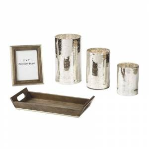Ashley Furniture Dexton 5 Piece Accessory Set in Brown and Silver