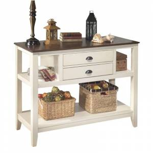Ashley Furniture Ashley Whitesburg 48 Sideboard in Brown and Cottage White
