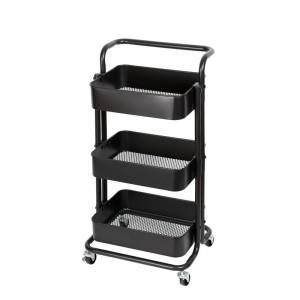 Pemberly Row 3 Tier Mobile Storage Caddy in Matte Black