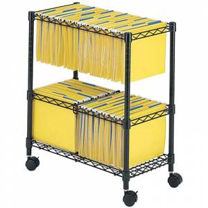 Scranton & Co Two-Tier Mobile Metal File Cart in Black