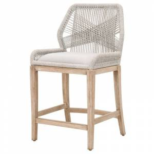 Star International Furniture Loom Counter Stool in Taupe and White Flat Rope and Natural Gray