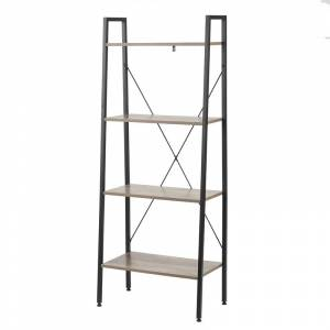 Luxen Home Wood and Metal 58in. H Ladder Bookcase