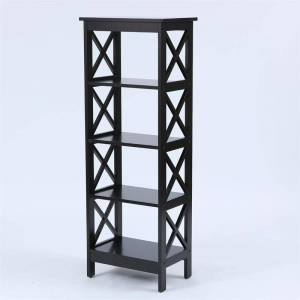 Luxen Home Black X-Sided Narrow Wood Bookcase