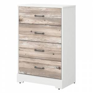Kathy Ireland Home by Bush Furniture River Brook Chest of Drawers in White/Barnwood - Engineered Wood