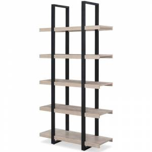 Unique Furniture Stavanger Engineered Wood Tall Open Bookcase in Gray