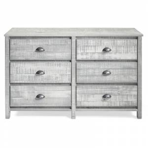 Alaterre Furniture Rustic 6-Drawer Wood Dresser in Rustic Gray