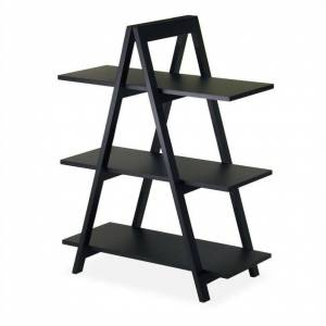 Winsome A-Frame 3-Tier Shelf in Black Finish
