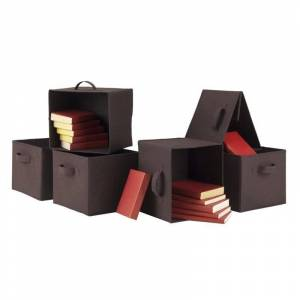 Winsome Capri Set of 6 Foldable Chocolate Fabric Baskets in Black