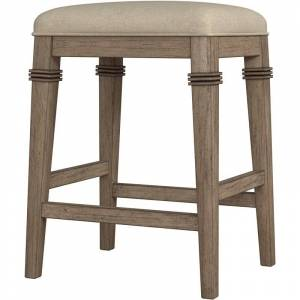 Hillsdale Arabella Backless Non-Swivel Wood Counter Stool in Distressed Gray