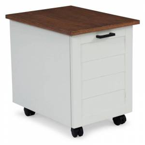 Home Styles Portsmouth White Wood Mobile File Cabinet