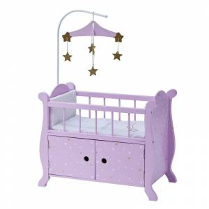 Teamson Design Olivia's Little World Twinkle Stars Princess Nursery Crib Bed in Purple