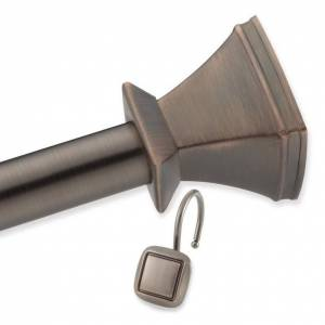 Elegant Home Fashions Square Shower Rod and Hook Set in Rubbed Bronze