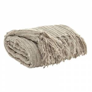 Ashley Furniture Noland Ribbed Acrylic Fabric Throw Blanket in Almond