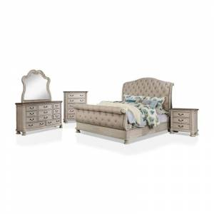 Furniture of America FOA Donhey 6pc White Wood Bedroom Set-King+2Nightstands+Dresser+Mirror+Chest