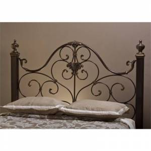 Bowery Hill Queen Metal Headboard with Frame in Antique
