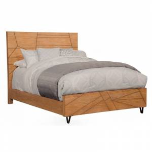 Alpine Furniture Trapezoid Standard King Wood Platform Bed in Cerused Wheat