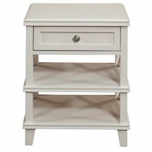 Alpine Furniture Potter 1 Drawer Wood Nightstand with 2 Shelves in White