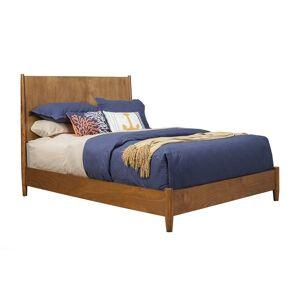 Alpine Furniture Flynn Mid Century Standard King Wood Panel Bed in Acorn (Brown)