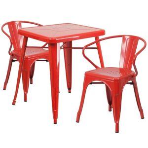 Flash Furniture 3 Piece Square Metal Bistro Dining Set in Red