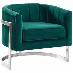 Armen Living Kamila Accent Chair in Green and Silver