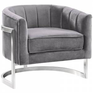 Armen Living Kamila Accent Chair in Gray and Silver