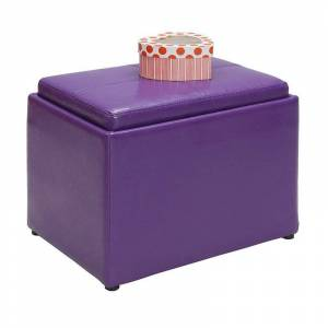 Convenience Concepts Designs4Comfort Accent Storage Ottoman in Purple