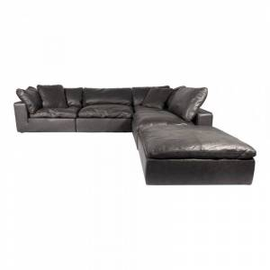 Moe's Home Collection Moe's Home Clay Leather Nubuck Leather Modular Dream Sectional in Black