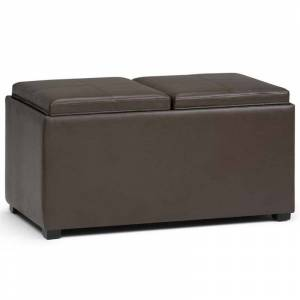 Simpli Home Avalon Faux Leather Storage Bench Bench in Chocolate Brown