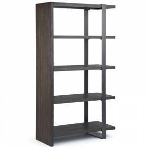 Simpli Home Montgomery 4 Shelf Bookcase in Distressed Dark Brown