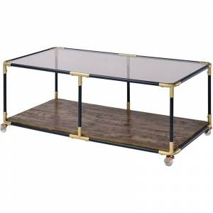 ACME Furniture ACME Heleris 48 Glass Top Mobile Coffee Table in Black and Gold