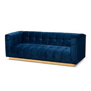 Baxton Studio Modern Loreto Velvet and Gold Finish Sofa in Navy Blue