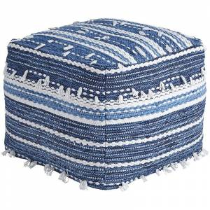 Ashley Furniture Ashley Anthony Square Pouf in Blue and White