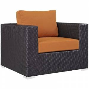 Modway Convene Patio Arm Chair in Espresso and Orange