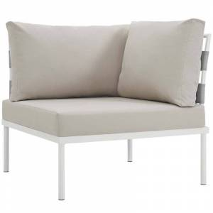 Modway Harmony Patio Corner Chair in Beige and White