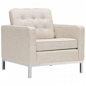 Modway Loft Upholstered Fabric Accent Chair in Beige