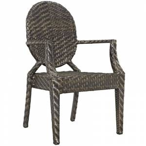 Modway Casper Patio Dining Arm Chair in Brown