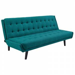 Modway Glance Tufted Sleeper Sofa in Teal and Black