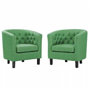 Modway Prospect Tufted Accent Chair in Green (Set of 2)