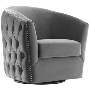 Modway Rogue Swivel Velvet Armchair in Gray