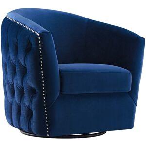 Modway Rogue Swivel Velvet Armchair in Navy